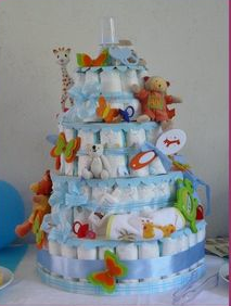 Comment j 39 ai douch mon b b baby shower home made - Fabrication d un gateau de couches ...